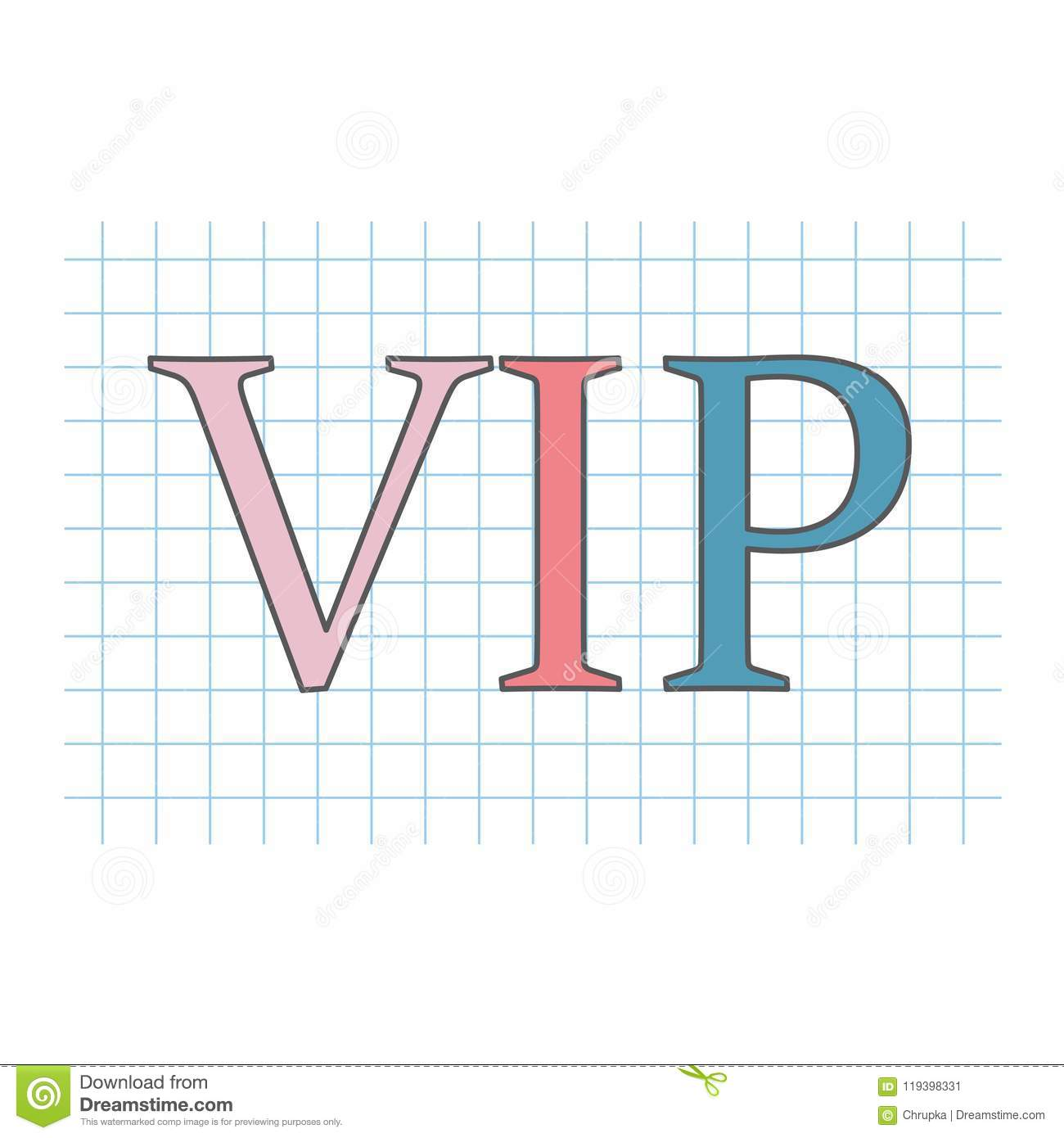 Vip Very Important Person Written On Checkered Paper Sheet