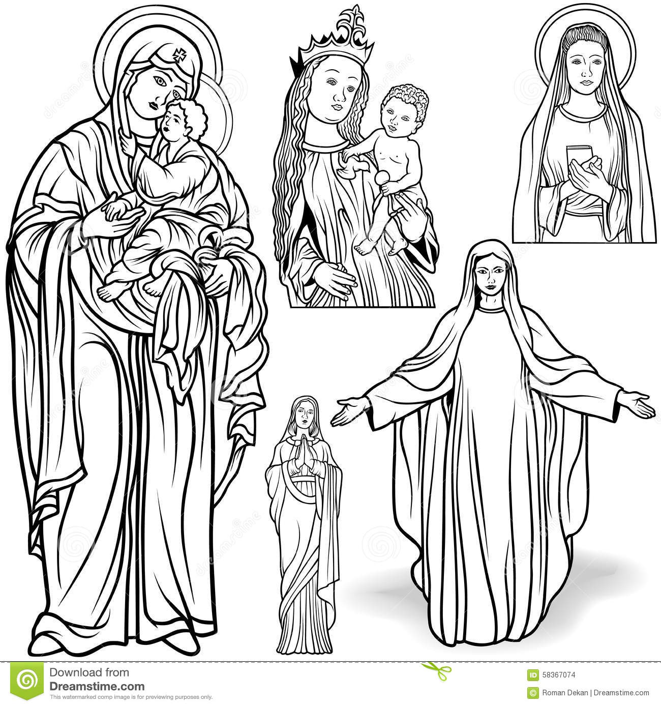 Virgin Mary Set Stock Vector Illustration Of Drawing