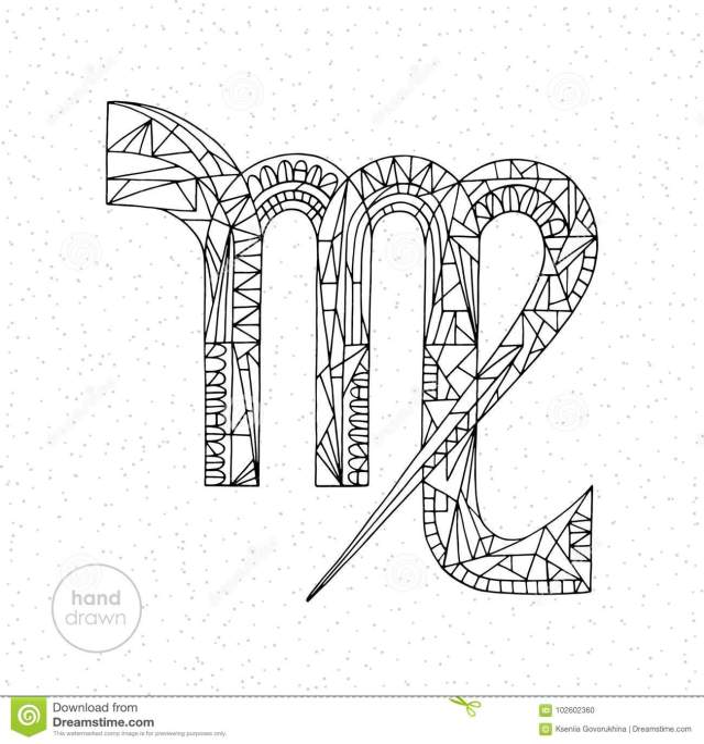 Virgo Zodiac Sign. Vector Hand Drawn Horoscope Illustration