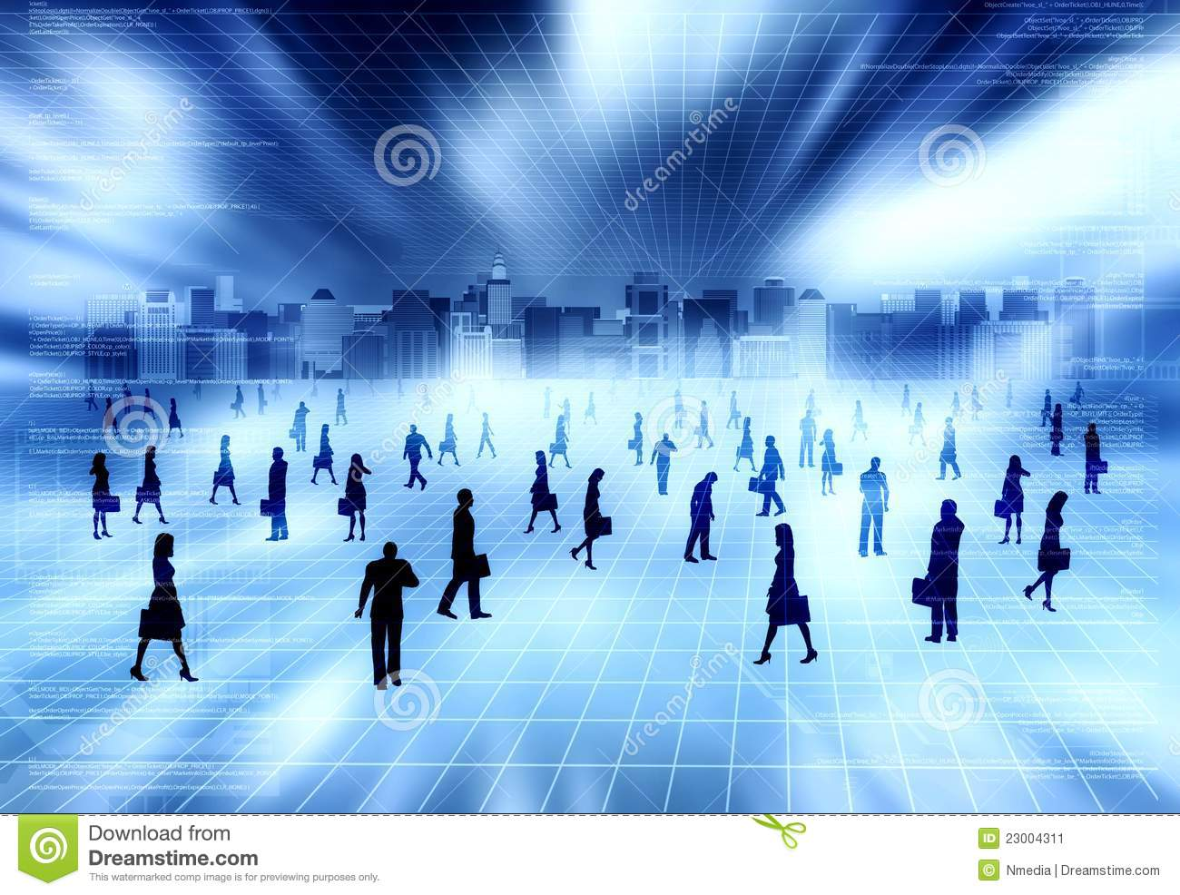 Virtual City With Virtual People Stock Illustration