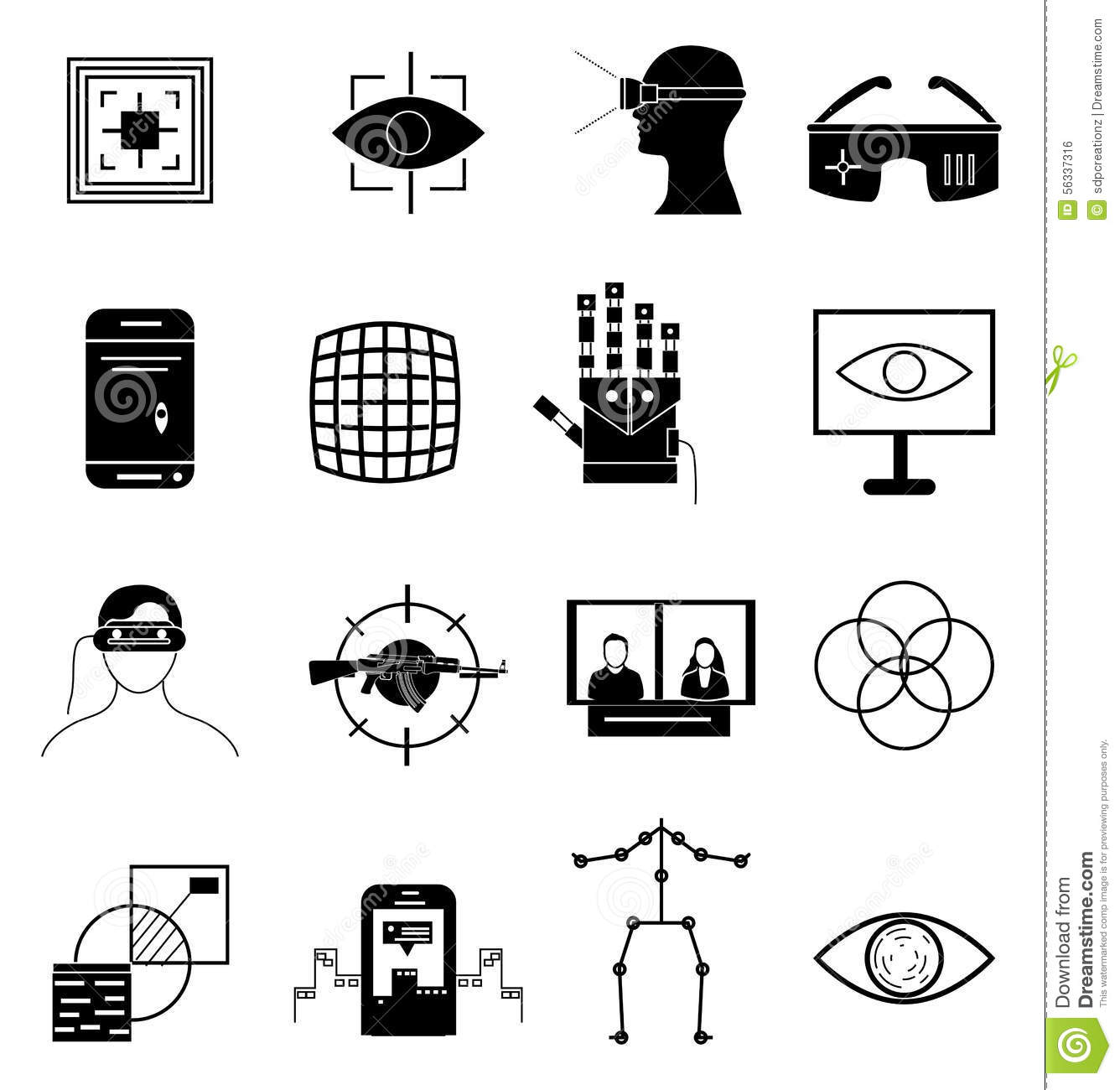 Virtual reality icons set stock vector. Illustration of
