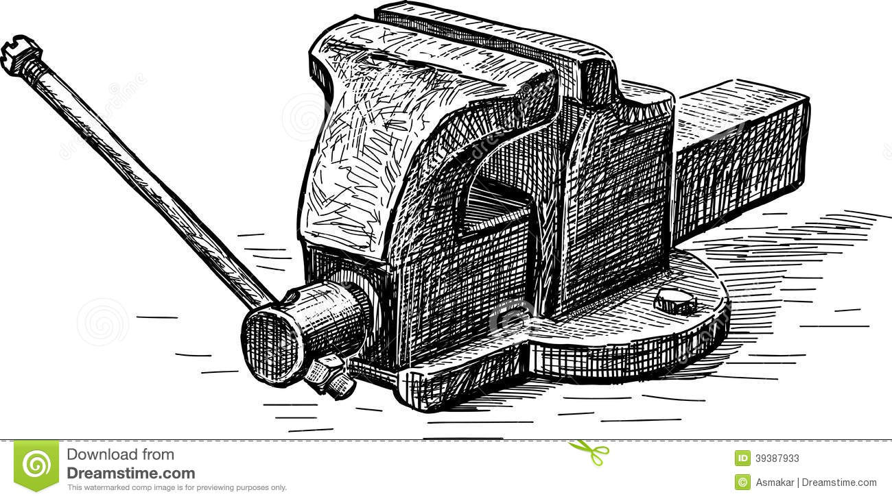 Vise stock vector. Image of industry, compressive, tools