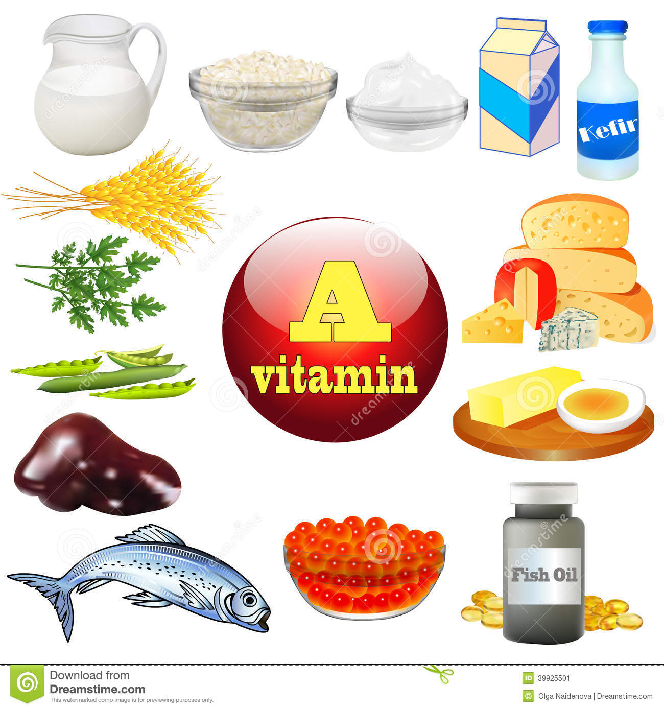 Vitamin A And Plant And Animal Products Stock Vector