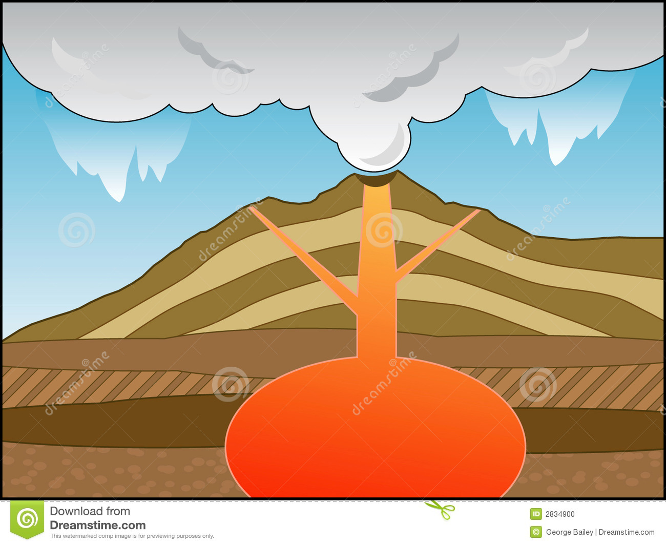 simple volcano diagram jacuzzi bathtub wiring cross section stock vector illustration of magma