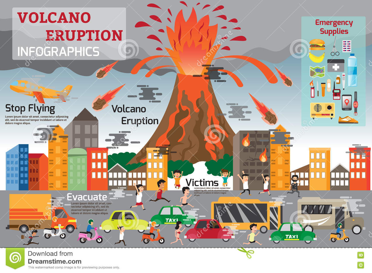 Volcano Eruption Infographics Elements Stock Vector