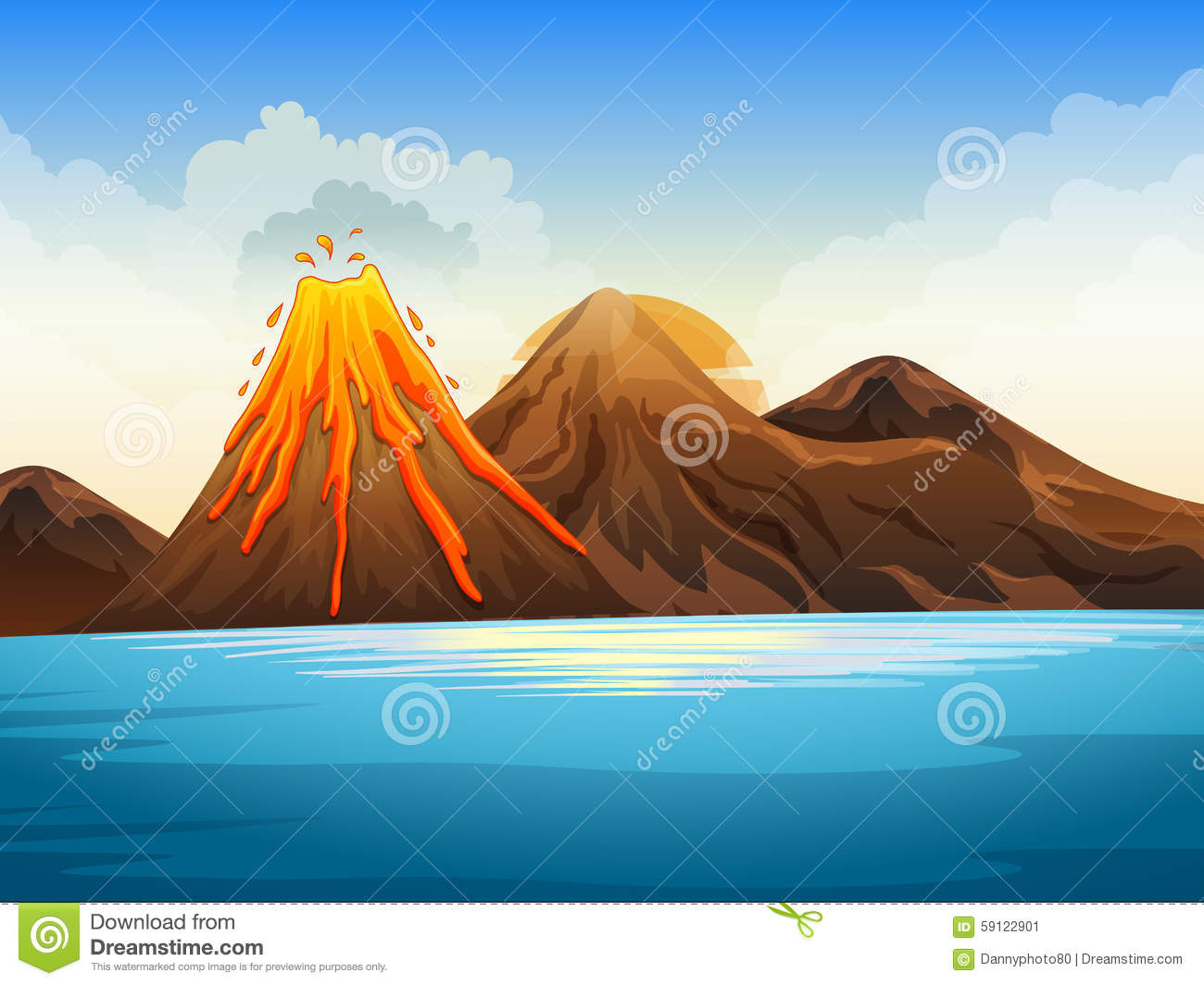 Volcano Eruption By The Lake Stock Vector  Image 59122901