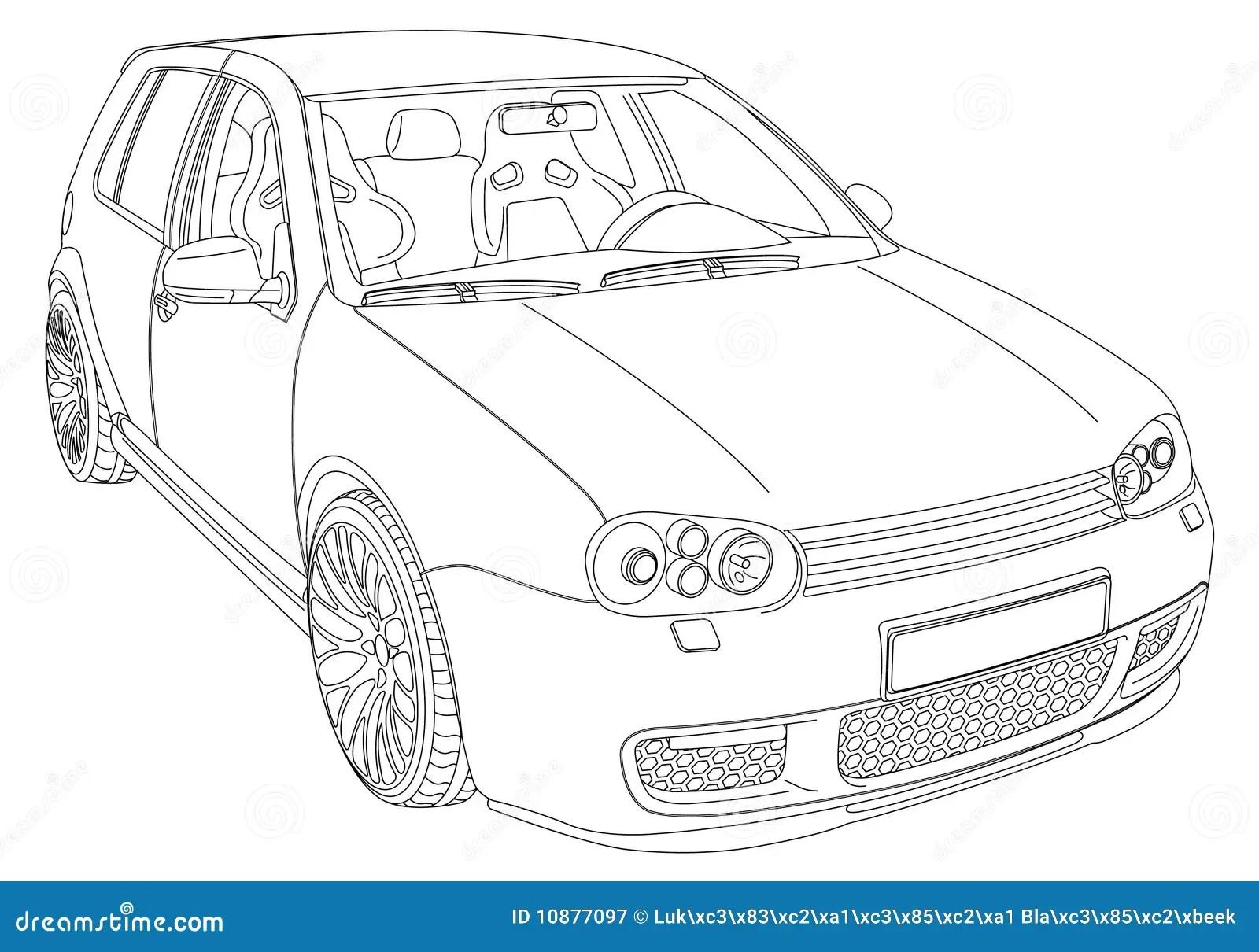 Volkswagen-Golf 4 vektor abbildung. Illustration von