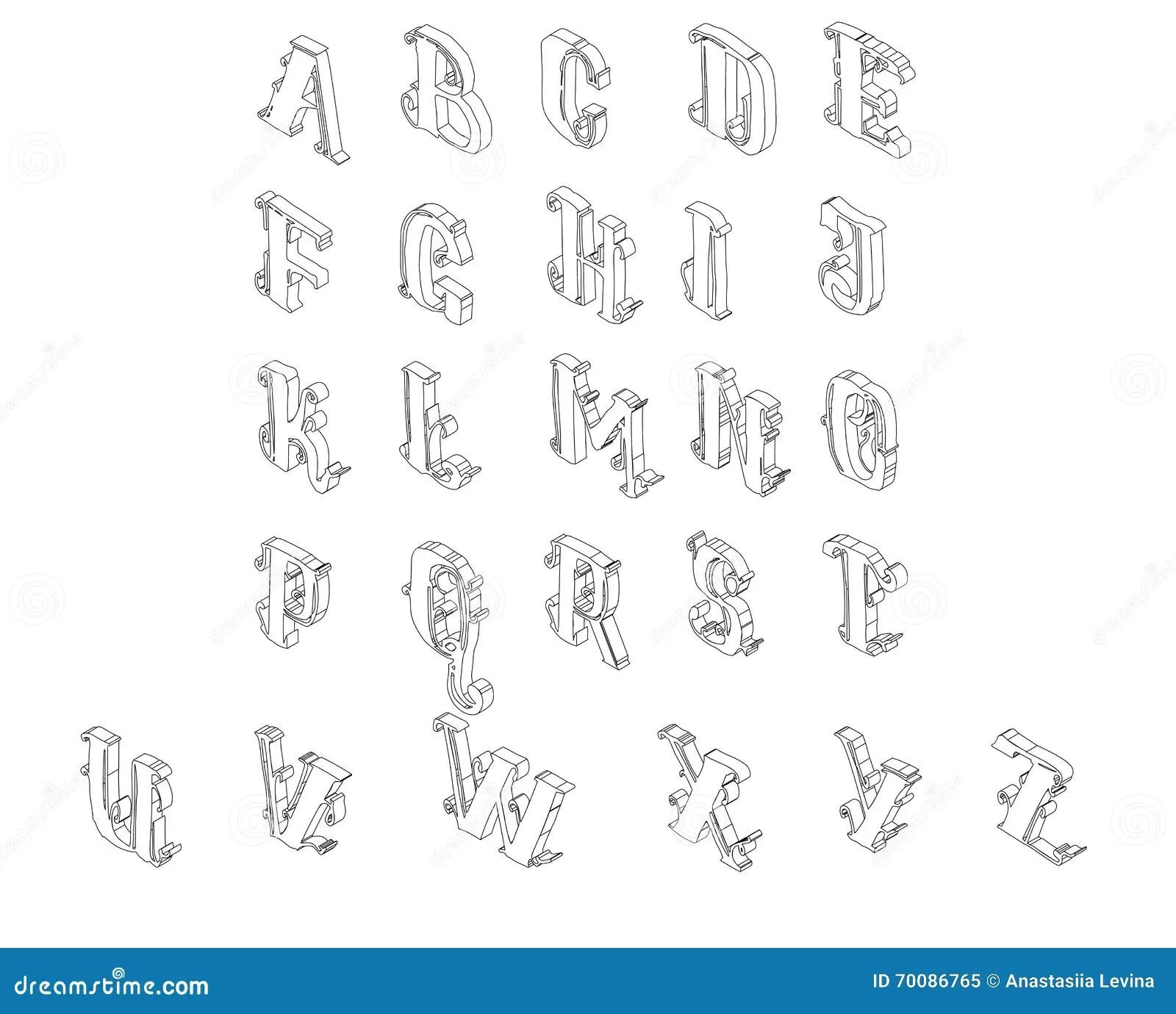 Volledige Reeks Van Isometrisch Alfabet Vector Illustratie