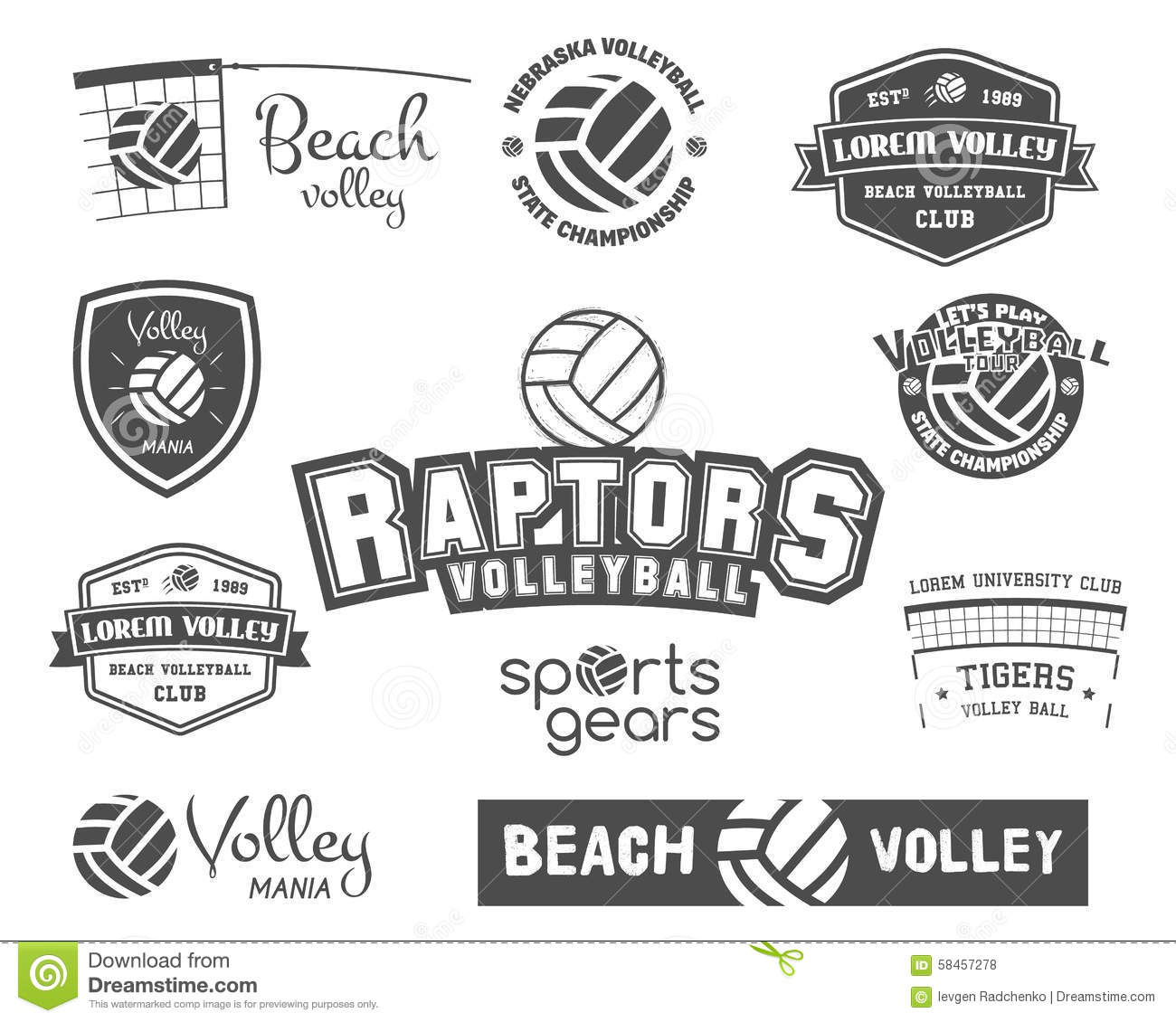 Volleyball Labels Badges Logo And Icons Set Stock Vector