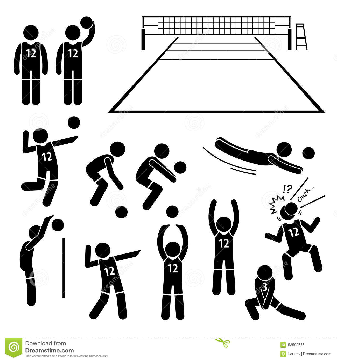 Volleyball Player Actions Poses Postures Cliparts Stock