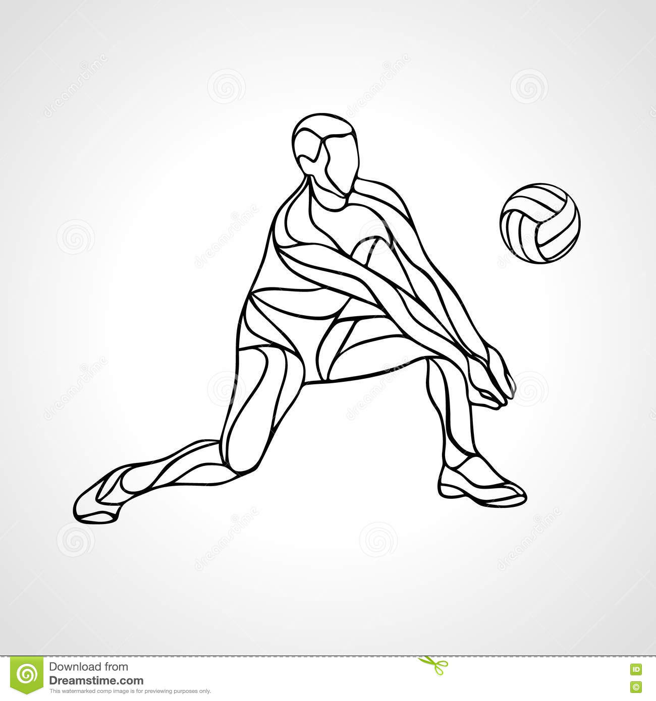 Volleyball Player Outline Silhouette Stock Vector