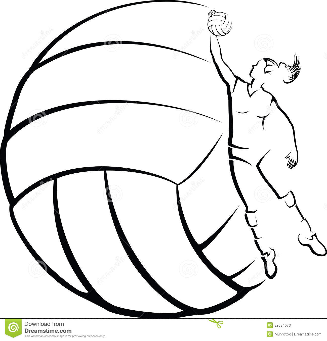 Volleyball Player With Volleyball Background Stock Vector