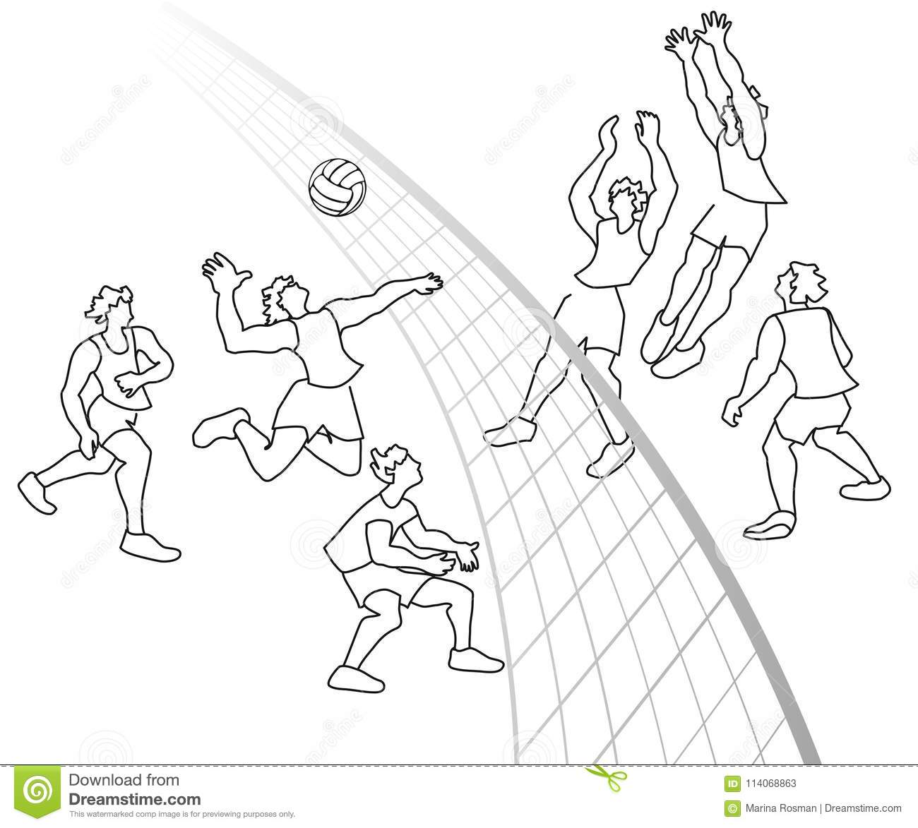 Volleyball Player Outline Silhouette Cartoon Vector