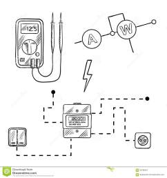 digital voltmeter electricity meter with socket and switches electrical circuit diagram sketch icons for electrical supplies and diagram design [ 1300 x 1390 Pixel ]