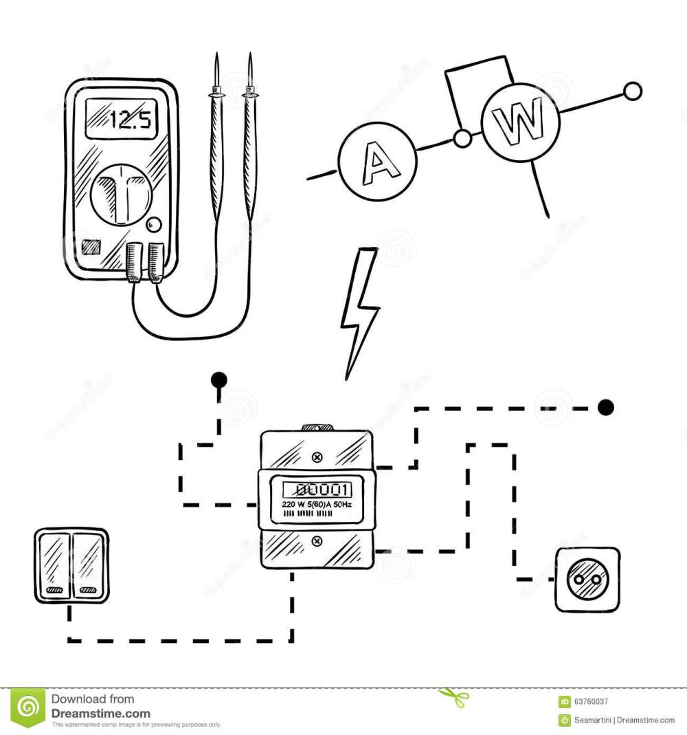 medium resolution of digital voltmeter electricity meter with socket and switches electrical circuit diagram sketch icons for electrical supplies and diagram design