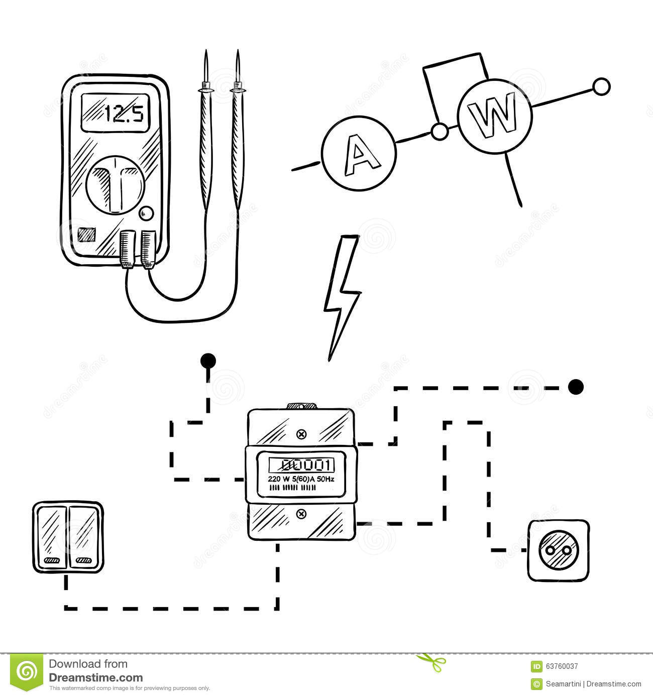 hight resolution of digital voltmeter electricity meter with socket and switches electrical circuit diagram sketch icons for electrical supplies and diagram design