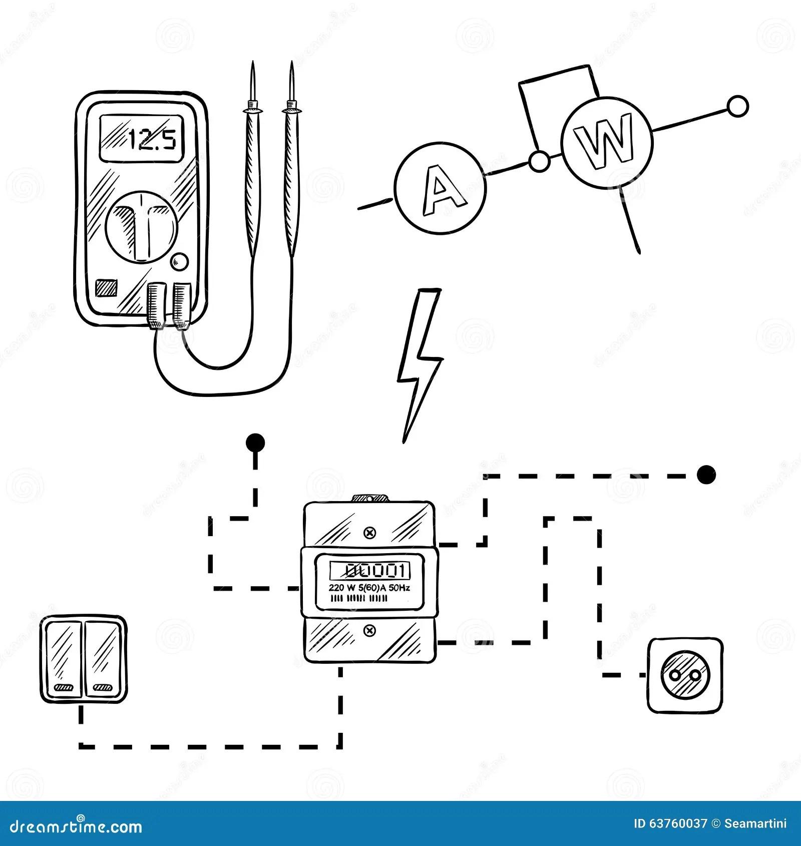 Voltmetern Elmataren Och Den Elektriska Stromkretsen