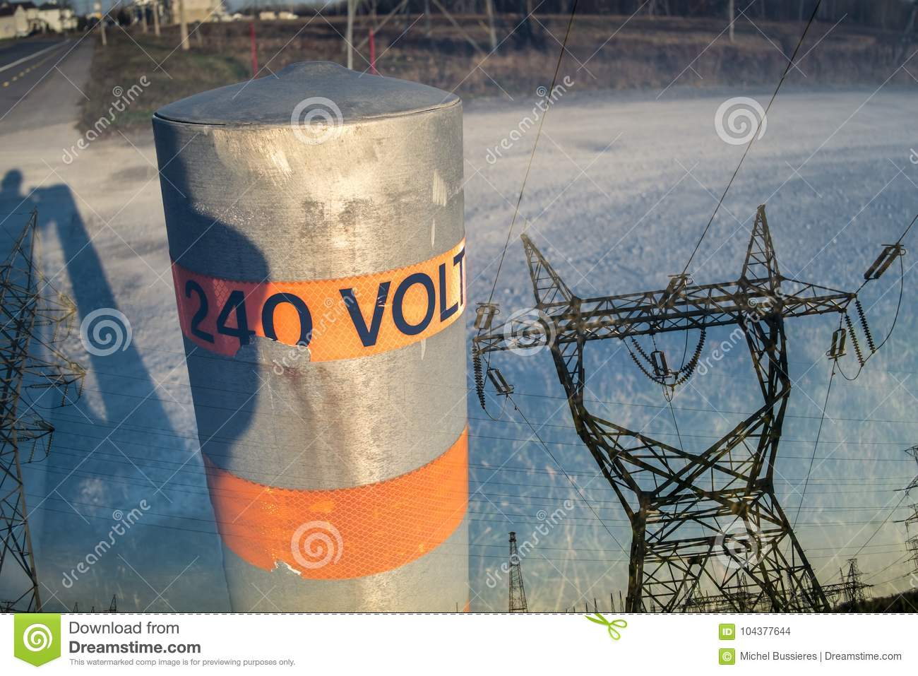 hight resolution of 240 volts pole pylon double exposure