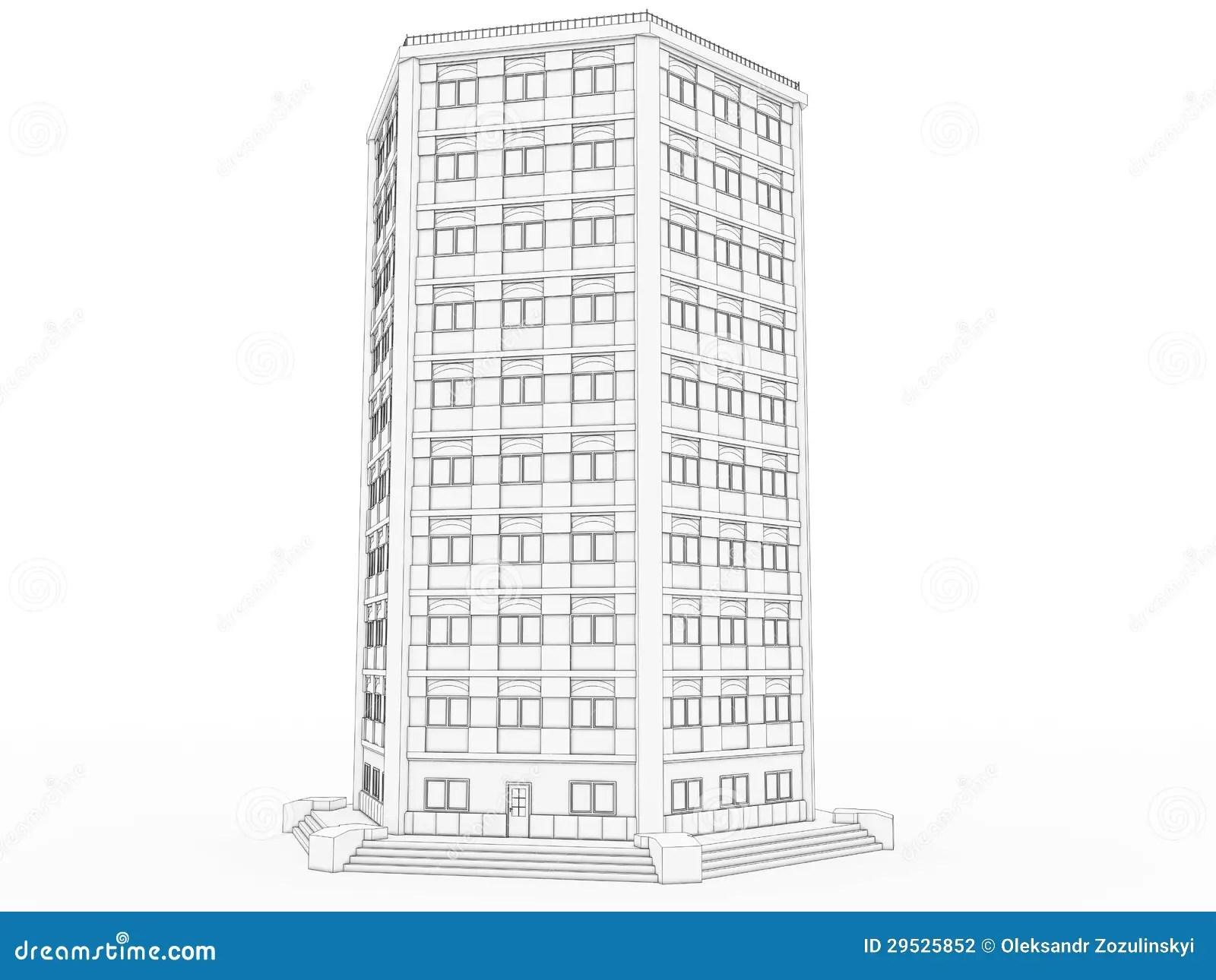 Volumetric The Building Drawing №1 Stock Illustration