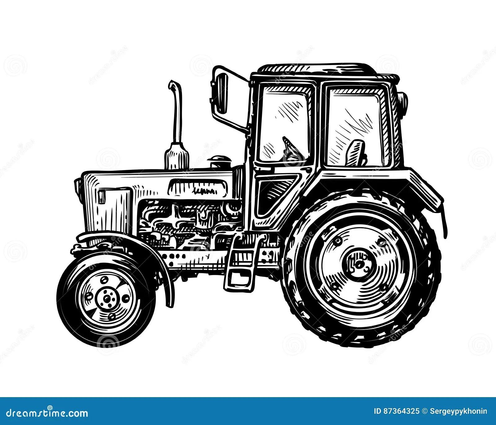Von Hand Gezeichneter Bauernhof Lkw Traktor