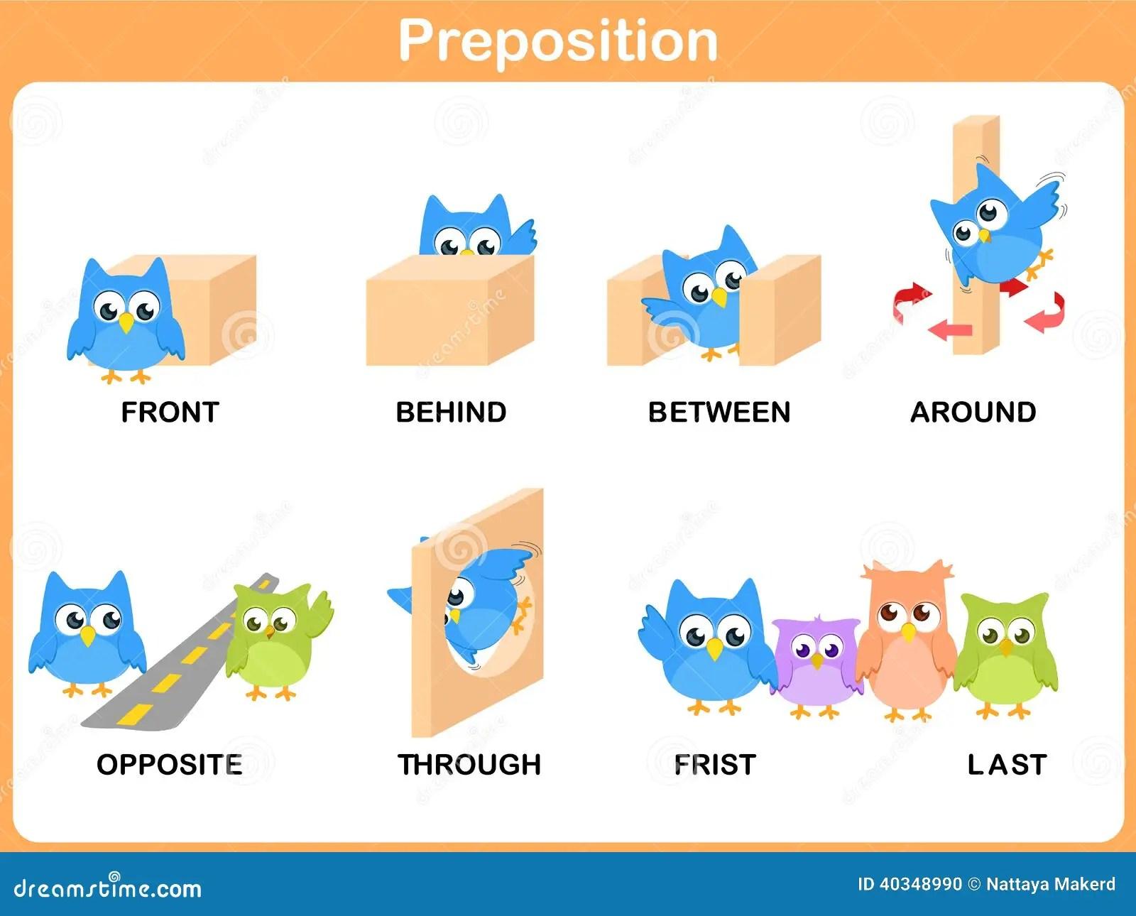 Voorzetsel Van Motie Voor Kleuterschool Vector Illustratie