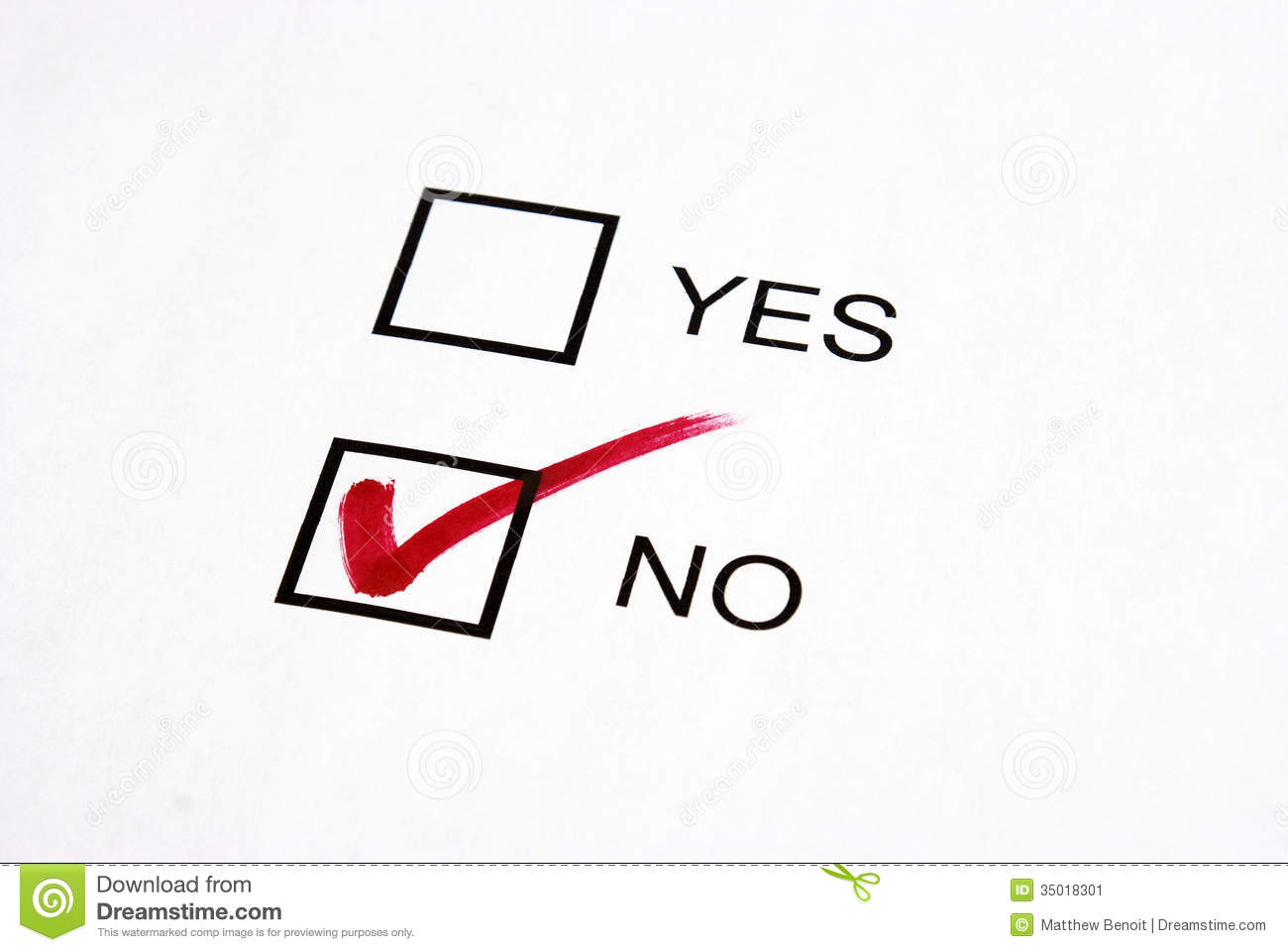 Vote No Stock Image Image Of Checkmark Questionnaire