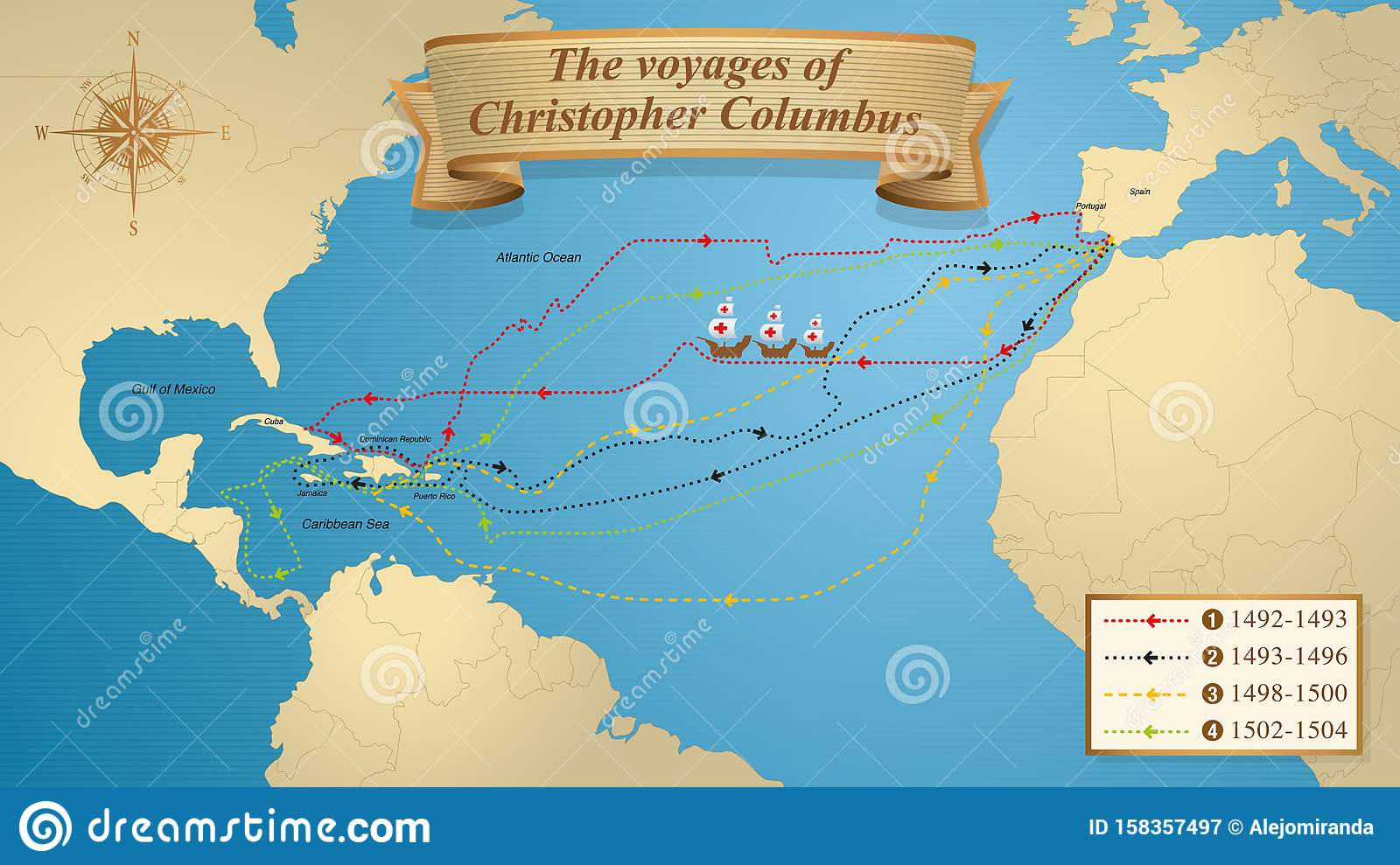 The Voyages Of Christopher Columbus Map With The Marked