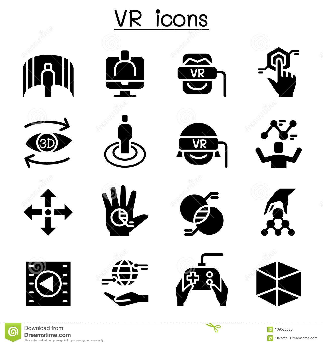Vr Virtual Technology Icon Set Stock Vector