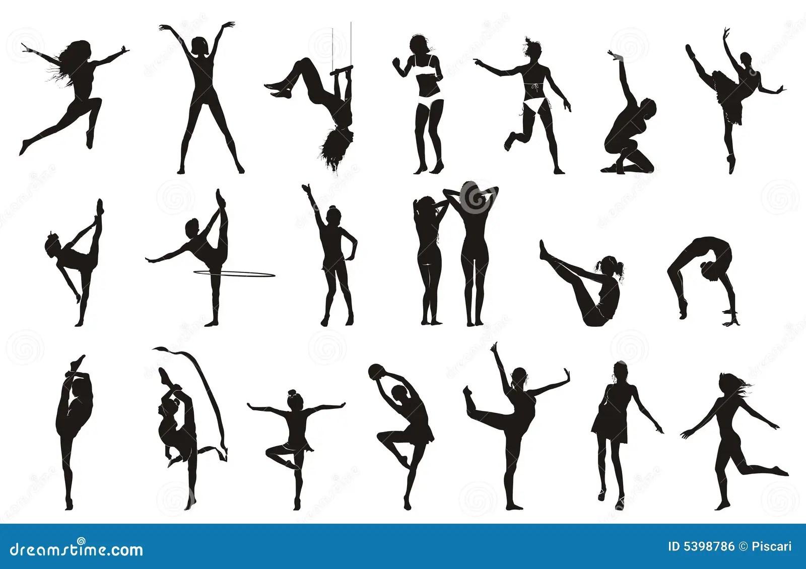 Vrouwelijke Gymnastiek Stelt Tekeningen Vector