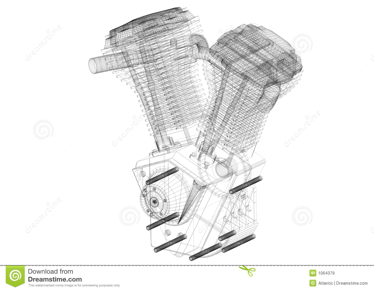 Vtwin Motor Wire Frame Stock Image Image Of Metal Power