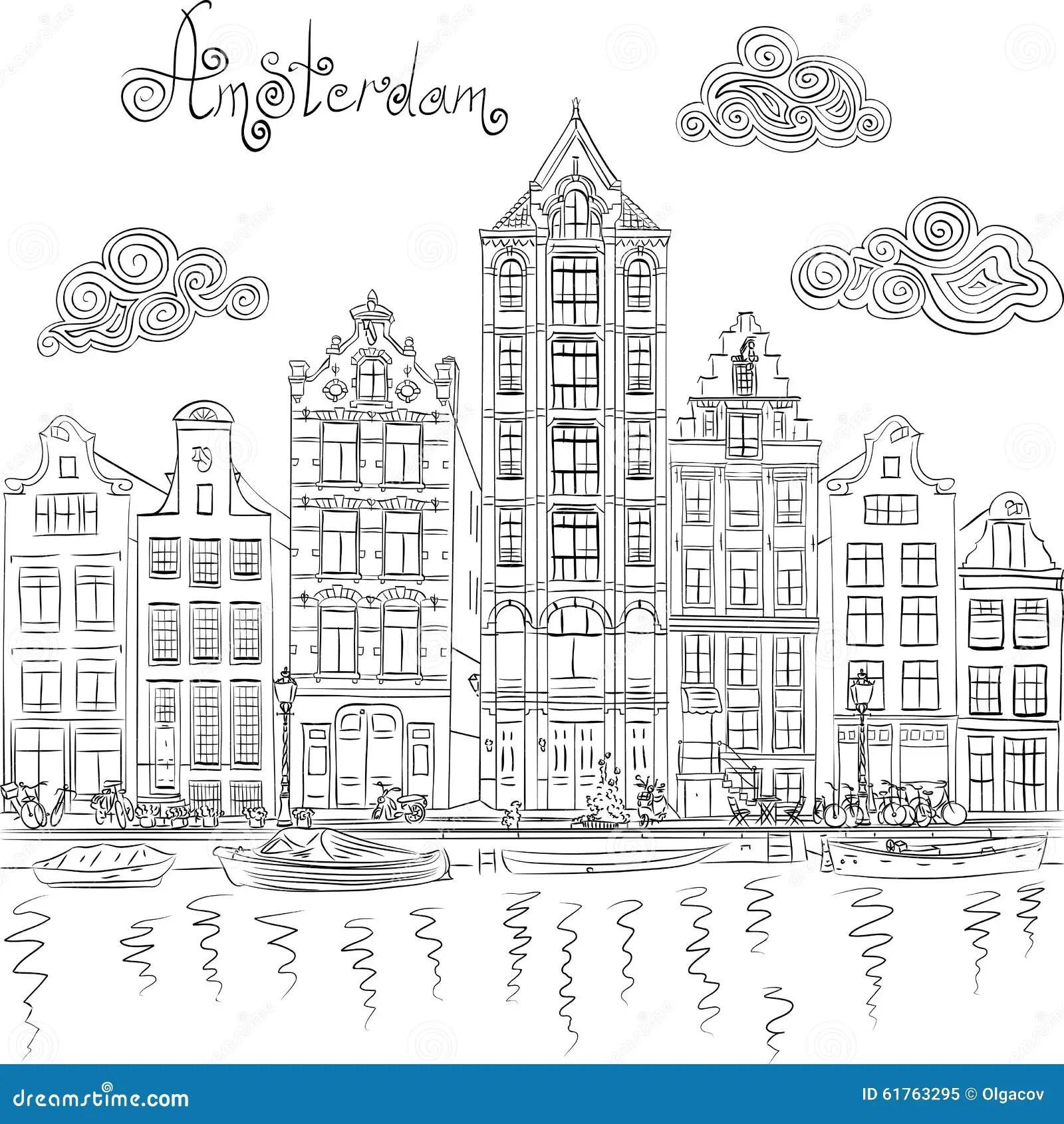Vue De Ville De Vecteur De Canal D'Amsterdam Illustration