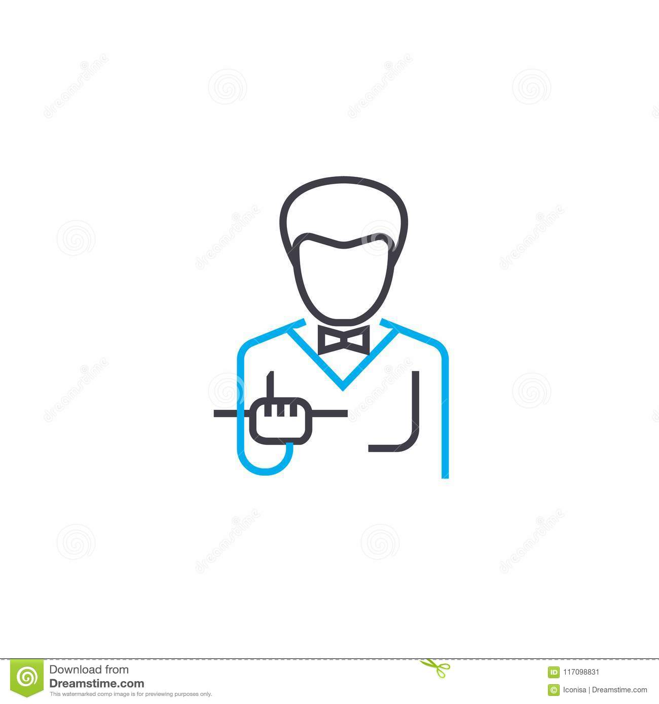 Waiter Linear Icon Concept Waiter Line Vector Sign