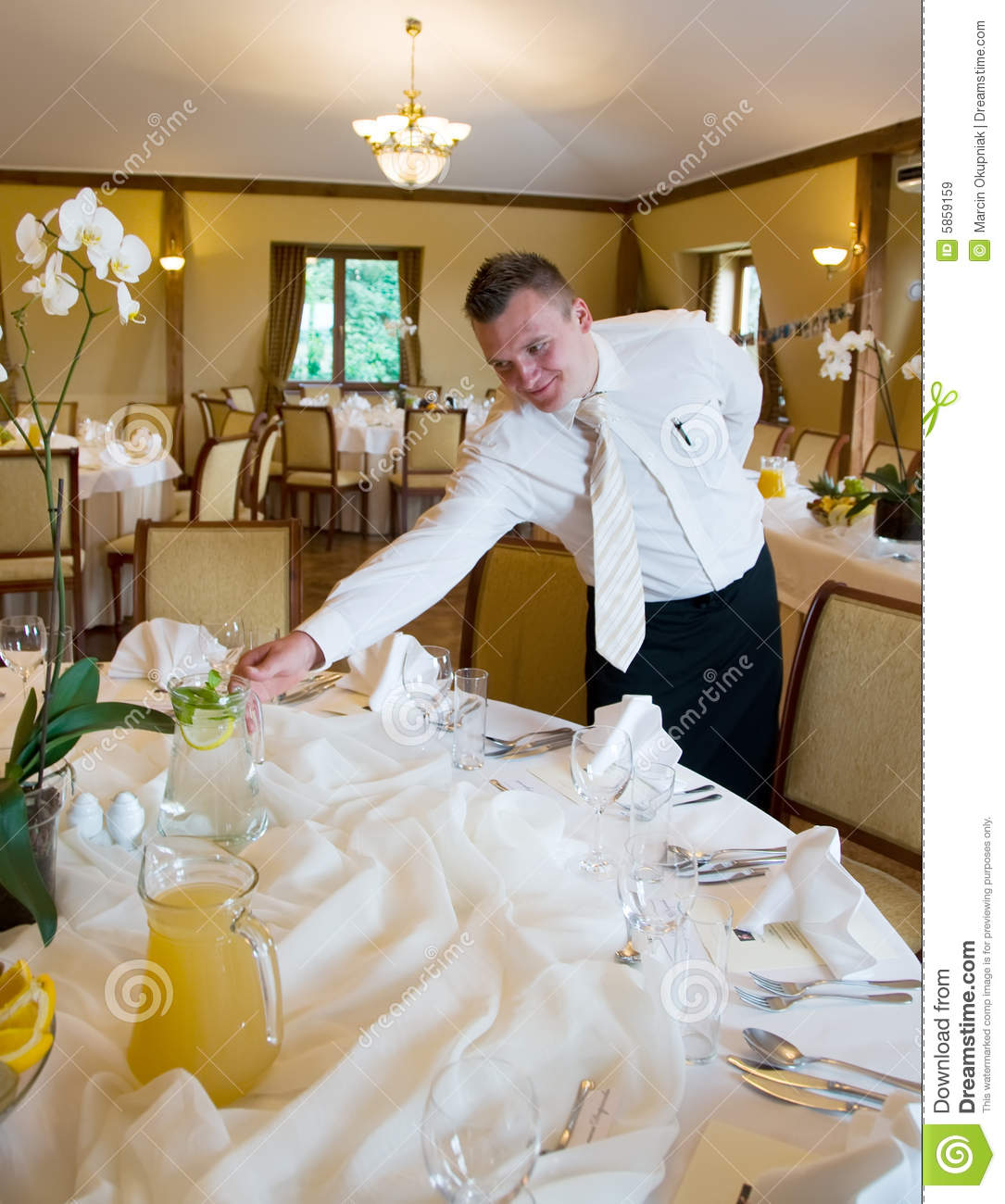 Waiter Setting Table Stock Image Image Of Furnished