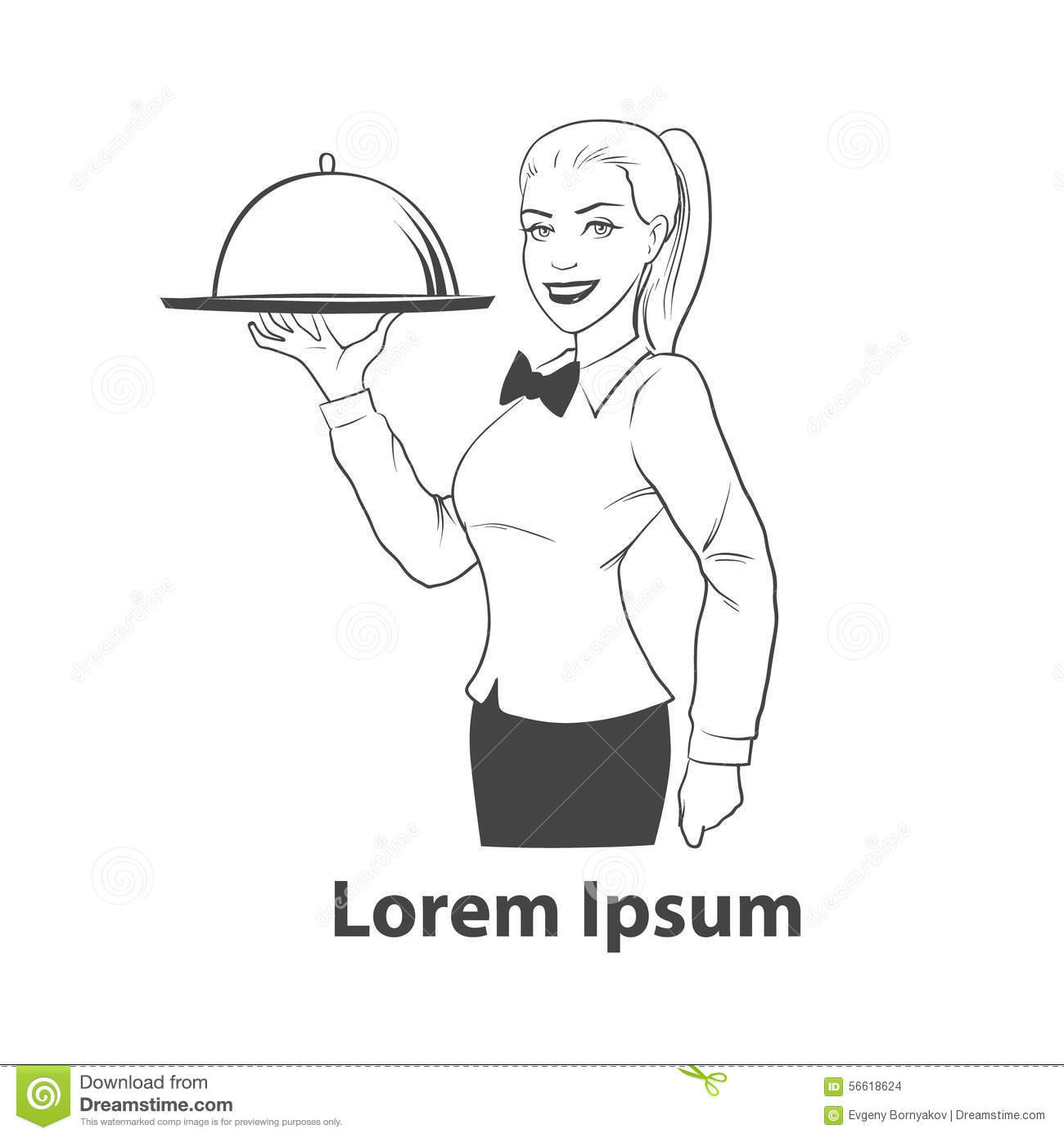 Waitress Stock Illustration Illustration Of Element