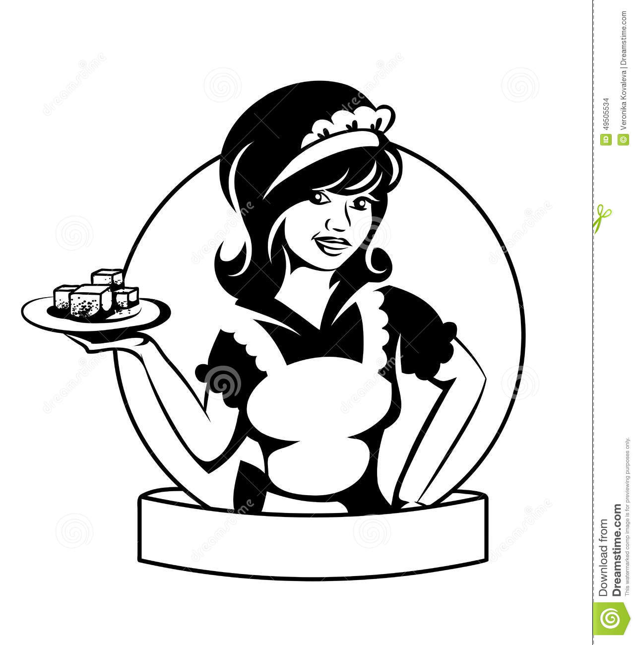 Waitress With A Dish Stock Vector Illustration Of Eating