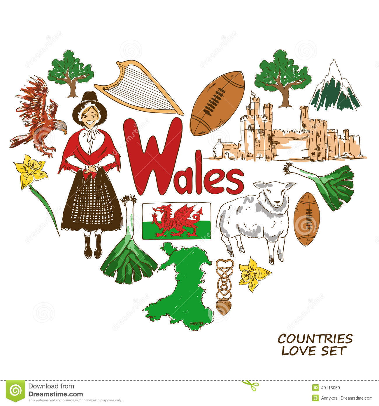 Wales Symbols In Heart Shape Concept Stock Vector