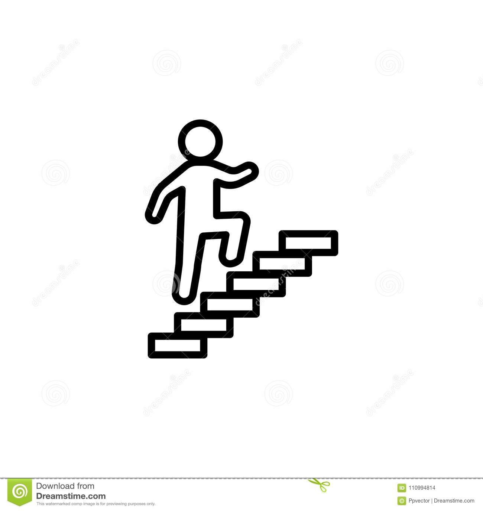 Walk Up Stairs Symbol Vector Illustration Stock Vector