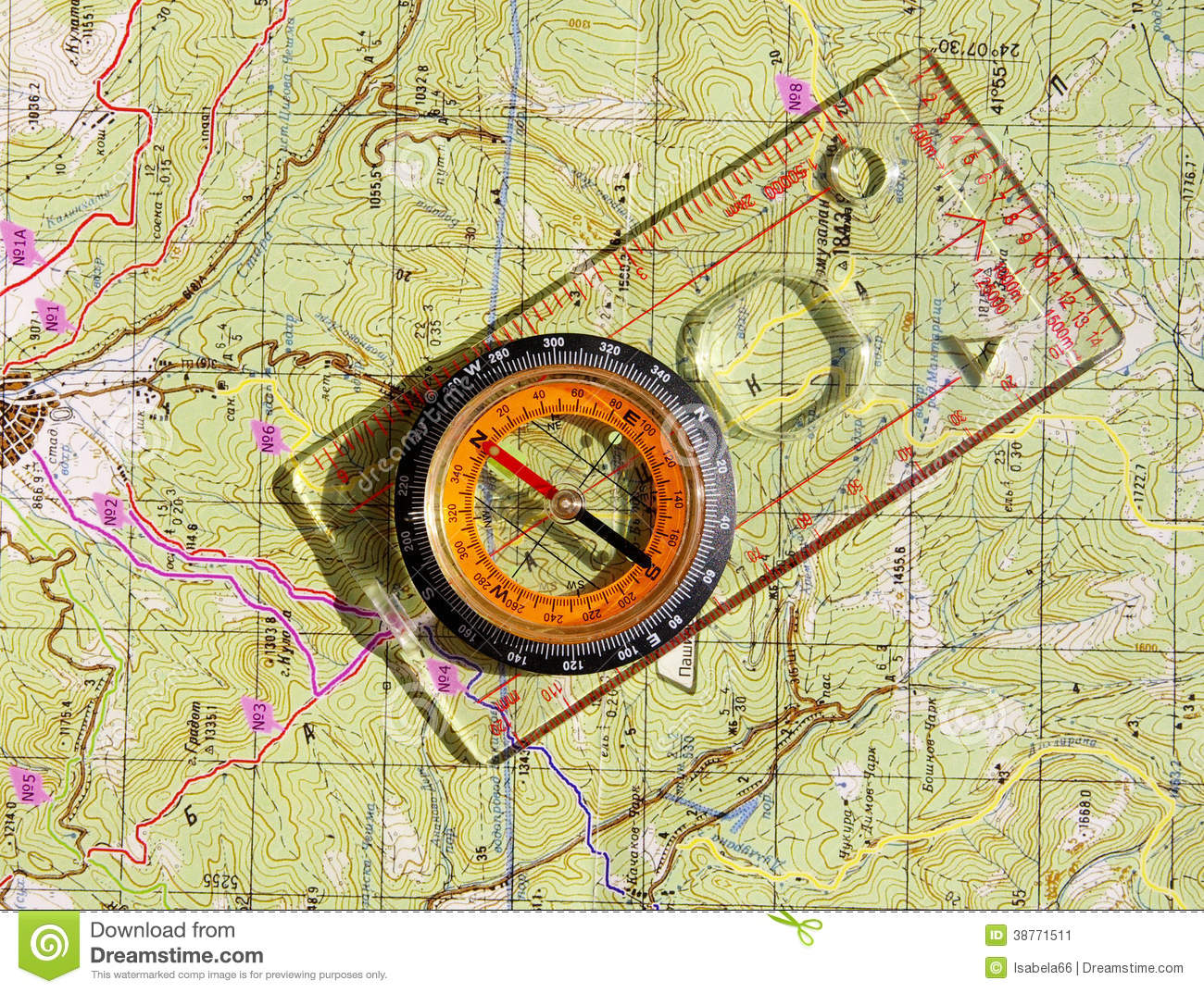 Walkers Compass And On A Topo Map Stock Image