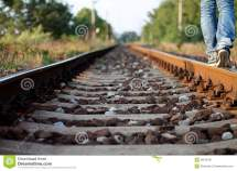 Walking Alone On Train Track