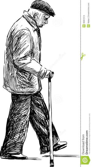 walking elderly vector drawing sketch lonely dreamstime sketches bench paintings