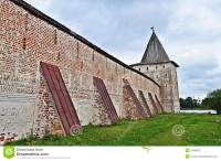 Wall With Buttresses And Tower Of Ancient Monastery Stock