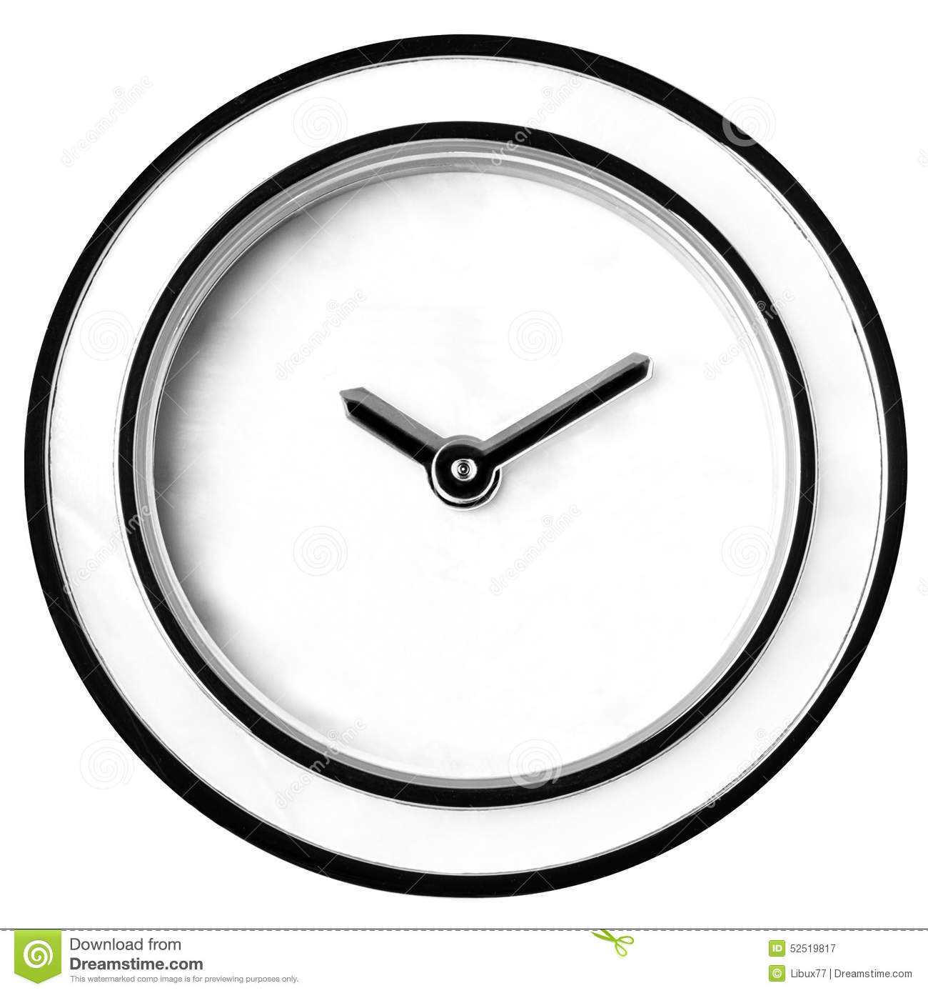 Wall Clock Without Numbers Isolated Stock Image