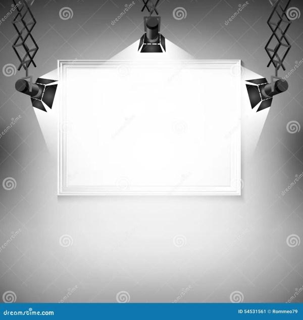 Wall With Vector Illustration. Spotlight Light