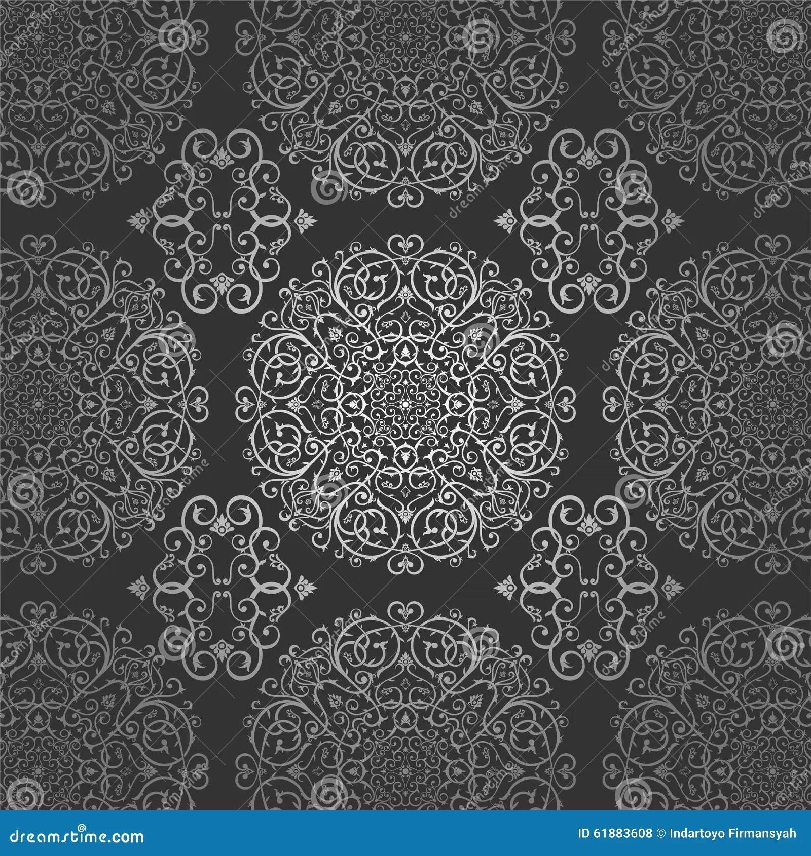 Wallpaper Arabic Batik Circle Floral Dark Silver Pattern