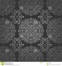Wallpaper Arabic Batik Circle Floral Dark Silver Pattern
