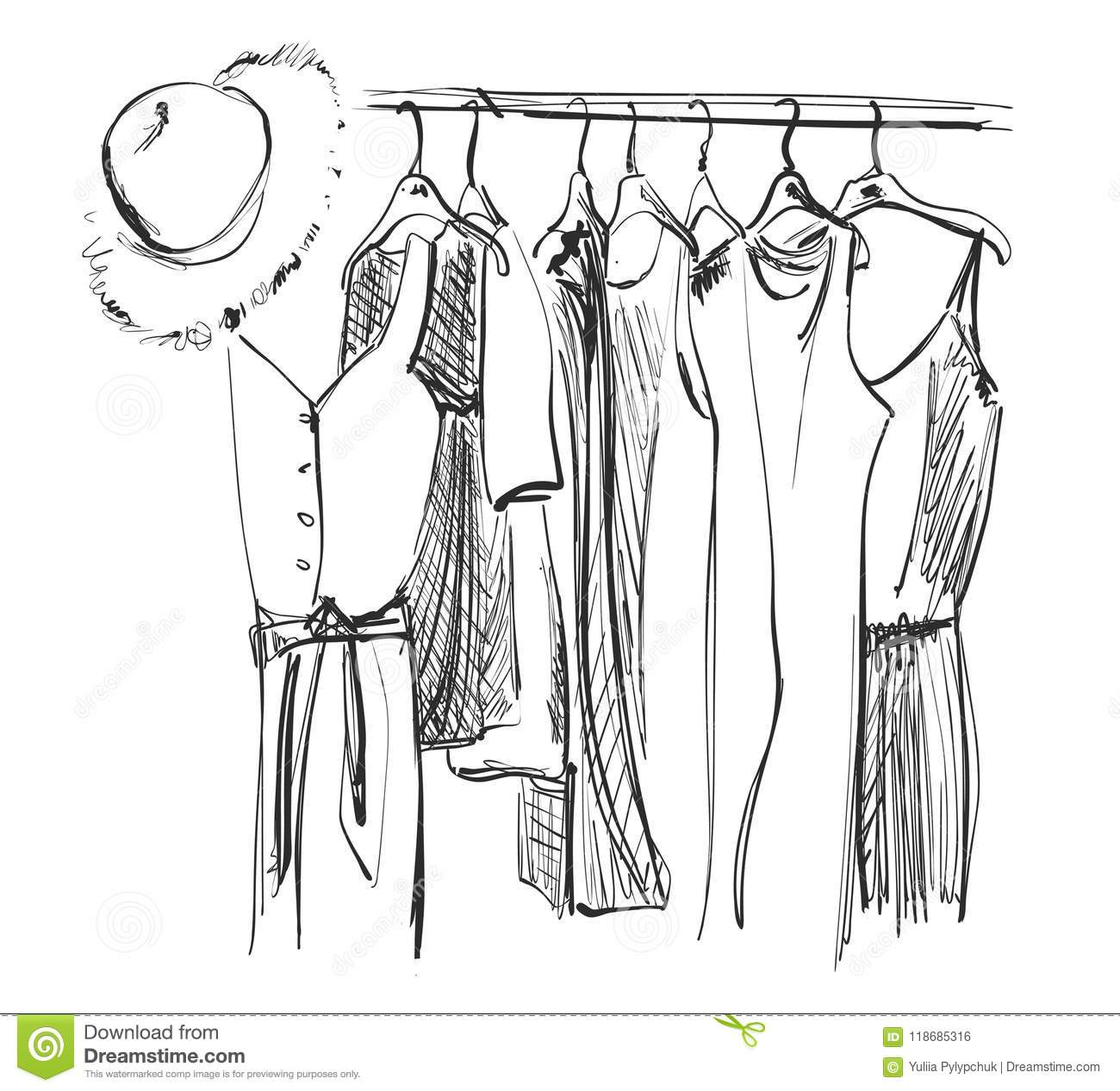 Wardrobe Sketch Clothes On The Hangers Summer Dress And