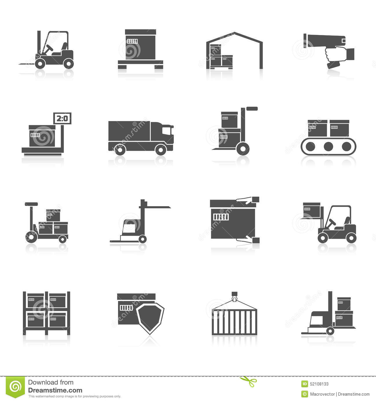 Warehouse Icons Black Stock Vector