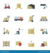 Warehouse Flat Icons Set Cartoon Vector Cartoondealer