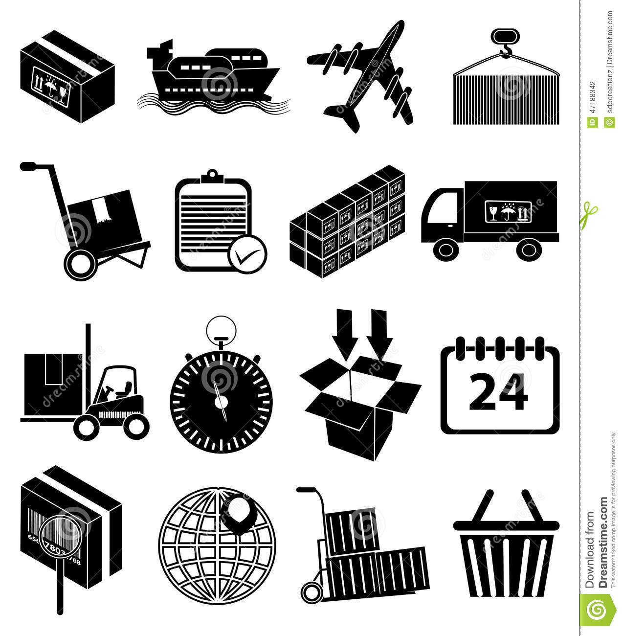 Warehouse Logistics Packaging Delivery Icons Set Stock