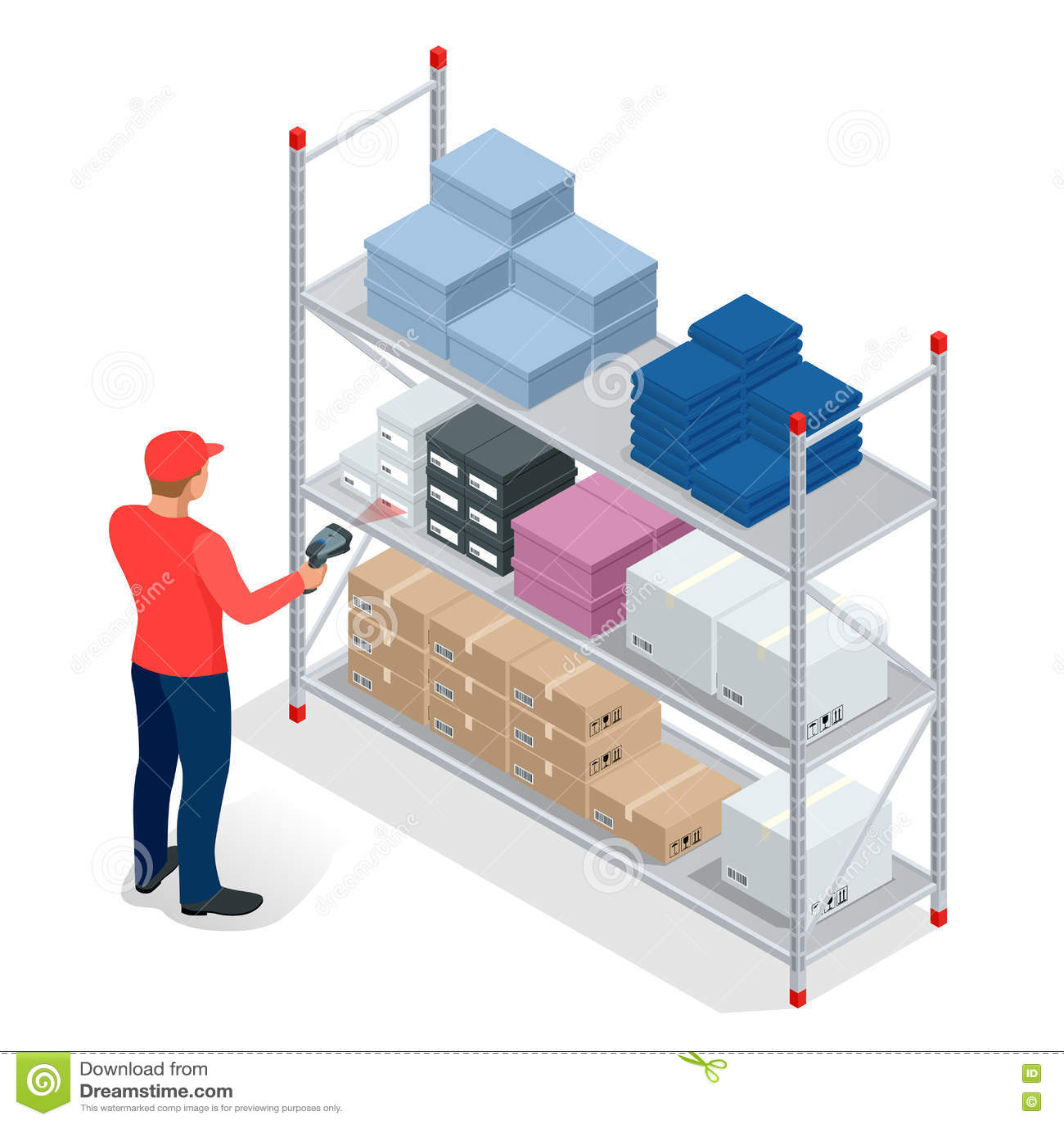 Scanner Warehouse Cartoon